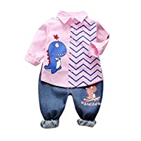 Xmiral Toddler Boys Cartoon Dinosaur Print Outfits Long Sleeve Shirt Jeans Baby Kids Clothes Set