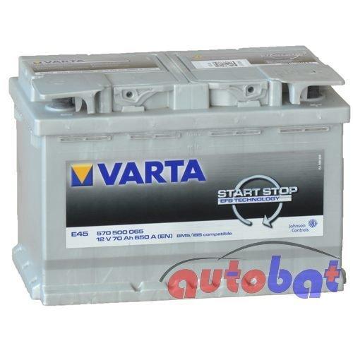 Varta E45 12V 70Ah 650 A(EN) Start Stop EFB Batteria auto ETN 570 500 065