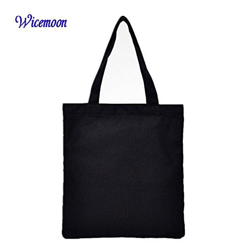 Wicemoon , Damen Tote-Tasche schwarz 32 x 40 cm (Canvas Griff Tote)