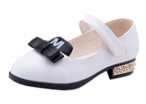 La vogue Mädchen Ballerinas Festliche Schuhe Kinderschuhe Klettverschluss Weiß