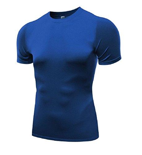Men's Sports Compression Vest Long & Short Sleeved (X-Large, Blue)