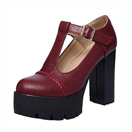 Agodor Damen T-Spangen High Heels Blockabsatz Pumps mit Riemchen und Plateau Moderne Büro Schuhe -