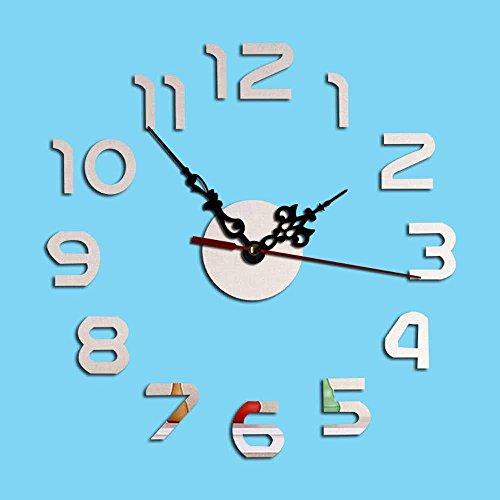 KHSKX DIY Spiegel Uhren, Acryl leise Glocke kreative Wandsticker, dekoriert die Wohnzimmer digitale Wanduhr , Silver Atomic Digital-wecker