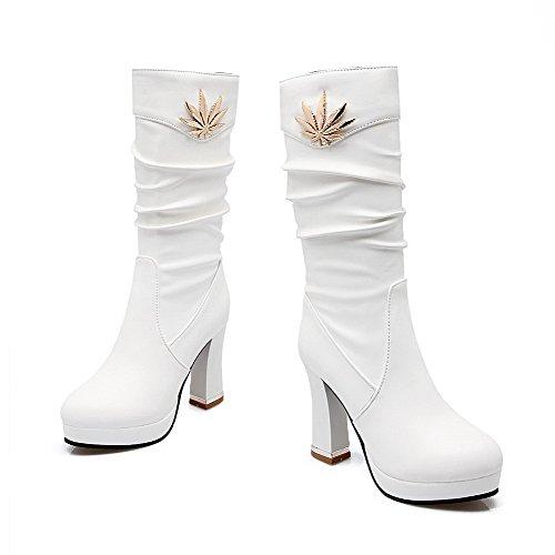 VogueZone009 Damen Mitte-Spitze Ziehen Auf Hoher Absatz Rund Zehe Stiefel Weiß