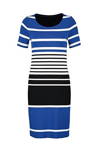 Claudia Sträter Damen Gestreiftes Jersey-Kleid- Gr. 40, Kobalt / Blau