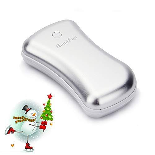 HandFan Calentador de Manos Recargable, USB Calentador de Manos eléctrico Calentador de Manos portátil para Mujeres/Hombres/Niños + 5200mAh Power Bank + LED Flashlight (Plata)
