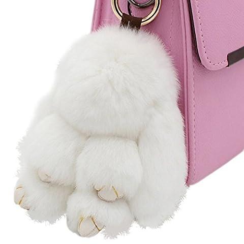 80Store Neuester Weihnachtsgeschenk Faux Pelz Nette Mini Kaninchen Puppe Keychain Auto Schlüsselring Frauen Beutel Charme Handtaschen Anhänger 13CM