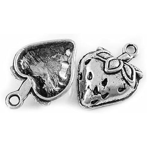 Pacco 12 x Argento Antico Tibetano 20mm Ciondoli Pendente (Fragola) - (ZX08620) - Charming Beads - Fragola Collana