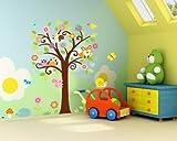 """WallStickers Decal® - Adesivi da parete """"Gufo che canta su un albero colorato"""" per la cameretta dei giochi dei bambini"""