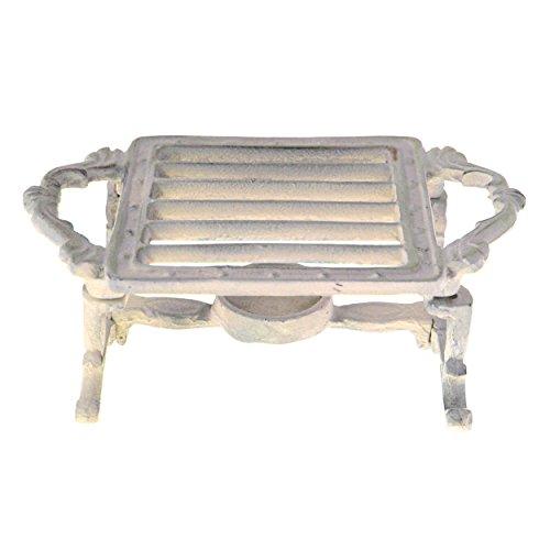 Portable Gusseisen, Einem Brenner (French Kitchen Collection quadratisch Speisewärmer, Gusseisen, Antik Elfenbein, 20x 12x 8cm)