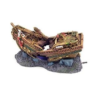 Galleon Ship Wreck Bubbler Fish Tank Aquarium Ornament from Lapwater Aquatics