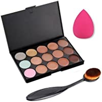 Kanggest Un Cconjunto de 15 Colores Concealer Paleta de Maquillaje + Oval Cepillo de Maquillaje + Impecable Maquillaje Puff