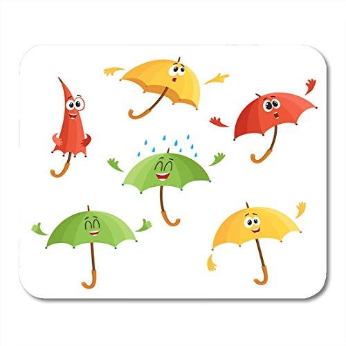 Mauspads Nette und lustige Regenschirm-Charaktere mit dem menschlichen Gesicht, das unterschiedliches Gefühl-Karikatur-Weiß des Sonnenschirm-Mauspads für Notizbücher, Bürozubehöre des Tischrechners ze