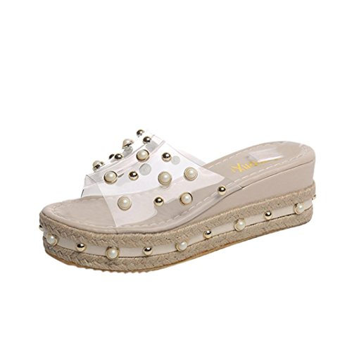 Zehentrenner Pantoletten Riemchensandalen,Damen Plattformen Flip-Flops Höhe erhöhte Sandalen schieben Rutschfeste Schuhe (36, Khaki)