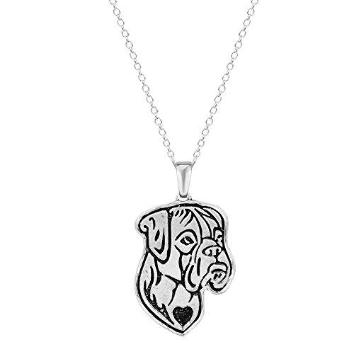 Boxer-Hund, Bulldog De Bordeaux, Geätzte Silber-Ketten-Anhänger, Halskette 098c8ae59f
