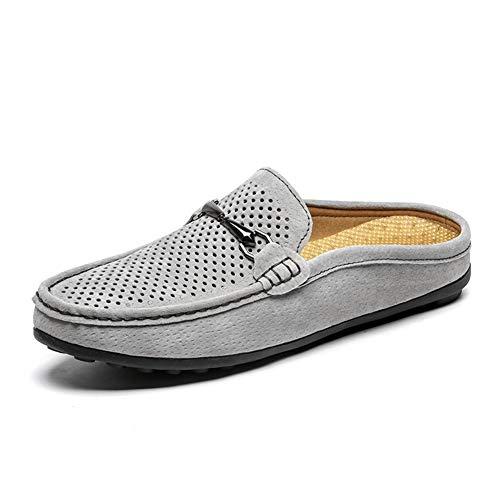 Shengjuanfeng Pantoletten für Herren Slipper Slip on Style Leichtes echtes Leder, perforiert mit rutschfesten Griffen (Color : Grey, Größe : 43 EU) -