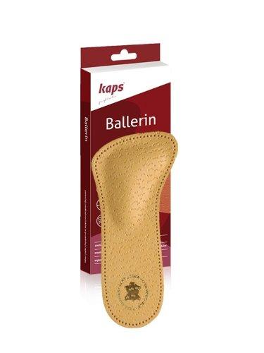 Plantillas de piel 3/4ortopédicas de Kaps Ballerin, con arco de apoyo para el metatarso, previene el dolor en el antepié, color Marrón, talla 37 EU Mujer