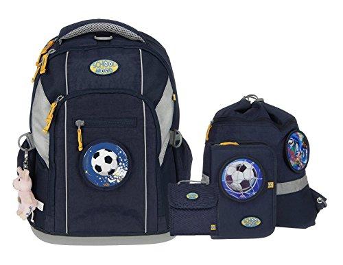 Schulrucksack-Set für Schulanfänger - Loop - von School-Mood - sechs Modelle 2017 (Marine Blue/Fußball)