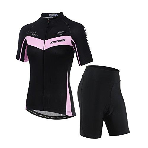oberteil mit kurzen Ärmeln/Fahrrad-Top für Frauen und 3D-gepolsterte Shorts, damen, schwarz ()