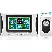 Elinker Wireless Stazione Meteo Digitale Impermeabile Indoor Outdoor Termometro Igrometro COLORE LCD Display con Valore Min/ Max del Temperatura Umidità, Previsione, Calendario, Sveglia per la Comodità di Casa Ufficio