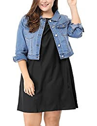 Sourcingmap Agnes Orinda Women's Plus Size Button Closed Cropped Denim Jacket 3X Light Blue
