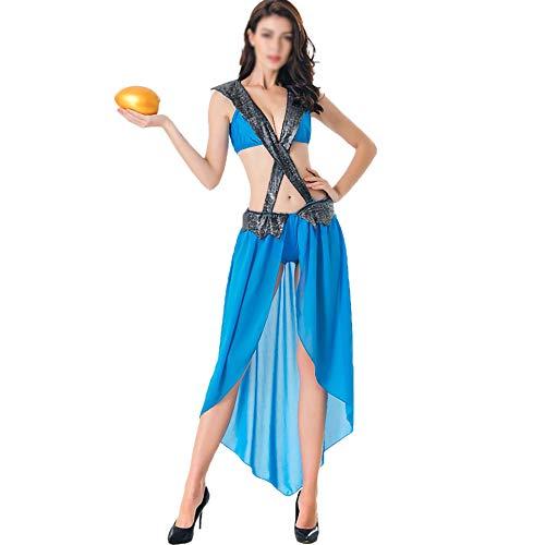 Griechische Athena Für Kostüm Erwachsene Göttin - Cosplay Kostüm der sexy griechischen Göttin Halloweens, Kostüm des Alten ägyptischen Yan-Pharaos Athena-Göttin, passend für Halloween-Nachtstadiumsleistung,Blau,OneSize