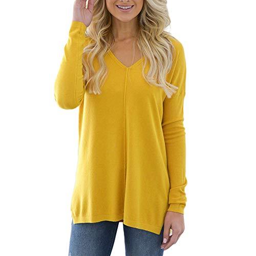 ♥ Loveso♥ Damen Langarmshirt V-Ausschnitt Pullover Casual Tunika Tshirt Oberteile Tops Öffnen Saum Damenbekleidung