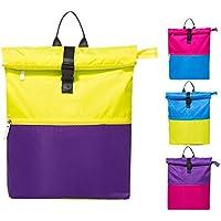 Mochila impermeable Sunshine D para nadar, con parte separada seca y húmeda, dos colores, costuras fuertes, adecuada para el gimnasio, piscina, viajes, vacaciones, playa, para adultos y niños , Yellow and Purple