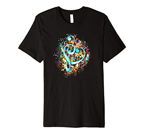 I Love Musik Herz Notenschlüssel Bassschlüssel Bunt T-shirt