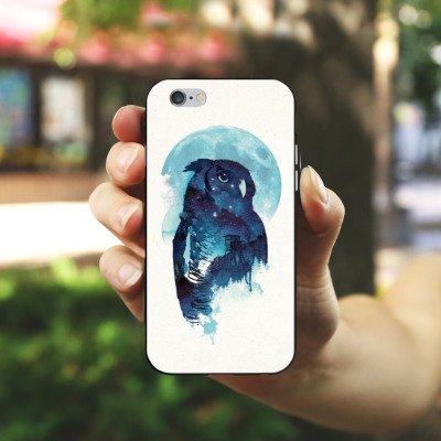 Apple iPhone X Silikon Hülle Case Schutzhülle Eule Nacht Art Silikon Case schwarz / weiß