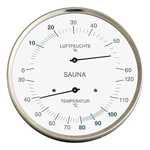 Sauna-Thermohygrometer, Edelstahlgehäuse, Ø 130 mm