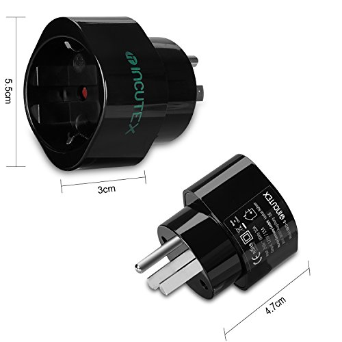 Adapter Typ B (Incutex 2x USA Reiseadapter US Reisestecker EU USA Adapter travel plug usa Typ B Steckdosenadapter USA Kanada, schwarz)