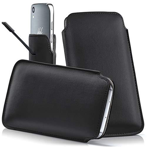 moex Alcatel A3 XL   Hülle Schwarz Sleeve Slide Cover Ultra-Slim Schutzhülle Dünn Handyhülle für Alcatel A3 XL Case Full Body Handytasche Kunst-Leder Tasche