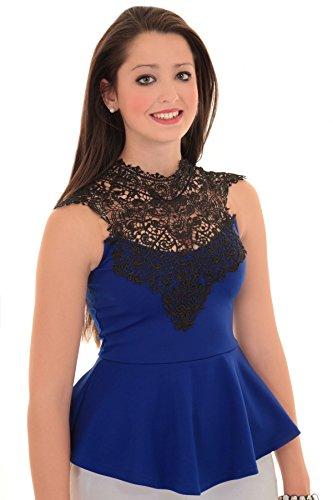 Fantasia - canottiera da donna senza maniche alimenti completamente con bordo sagomato in punta posteriore annodato peplo Top Blu