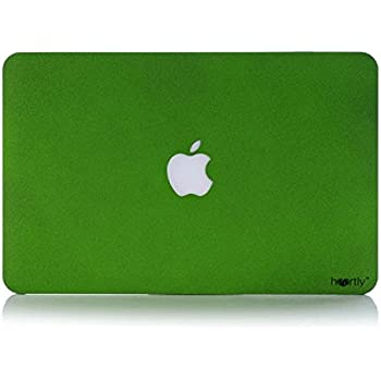 "Heartly Quicksand Finish MacBook Flip Thin Hard Shell Rugged Armor Hybrid Bumper Back Case Cover For MacBook Pro 13"" inch A1278 - Great Green"