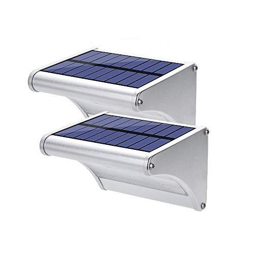 FELiCON Solarleuchte Draussen 24 LED Wireless Wiederaufladbare 1500mAh Bttery Wasserdichte Aluminiumlegierung Gehäuse 360 ° Radar Bewegungssensor Solar Wandleuchte für Schritt Patio (24LED 2 Stück) -
