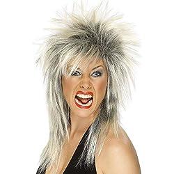 Smiffys Damen 80er Jahre Lange Vokuhila Perücke, Rock Diva Perücke, Blond und Schwarz, One Size, 42239