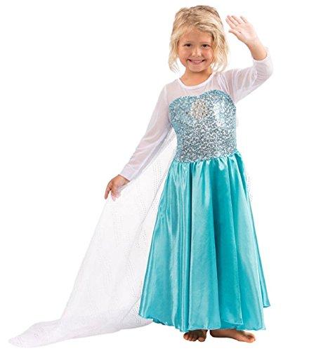 Kostüme Halloween Anna Gefrorene (Mntllbnc KostüMe Gefroren Griff GrößE 3-4 Jahre 110 Queen-Kleid Mit Einem Zug Schnee WeißEs MäDchen Kleid MäDchen Glitter)