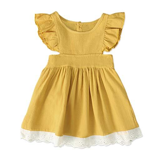 Alwayswin Mädchen Ärmelloses Kleid Sommer Mode A-Linien Kleid Süß Prinzessin Kleid Rüsche Spitze Kleid Kleidung Beachwear Einfarbig Party Kleid Lose Freizeit Kurzes Kleid Weste