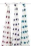 aden + anais Moonlight, silky soft Pucktuch, Musselin aus 100% Bambusfaser, 120cm X 120cm, 3er Pack