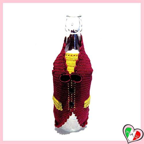 Copribottiglia gilet bordeaux per bottiglia di vino all'uncinetto in cotone - dimensioni: 26 cm x 25 cm h - handmade - italy
