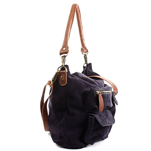 LECONI Schultertasche Damentasche Vintage Look Leconi Veloursleder Wildleder Damen Leder Shopper 41x32x10cm LE00039-V navy / braun