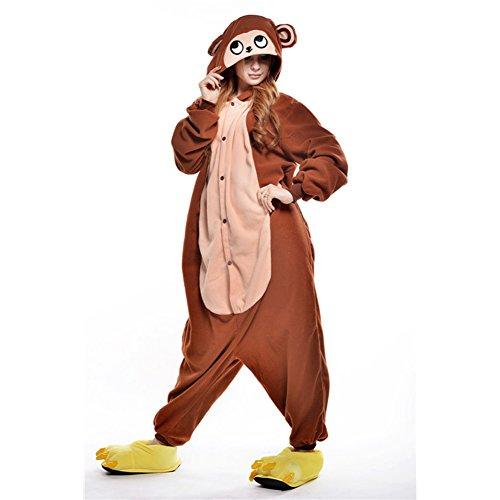 Amurleopard Damen/Herren Jumpsuit Kostüm Schlafanzug Pyjamas Einteiler, Affe Braun, XL( Körpergröße: 178-188 CM) (Braun Herren-pyjama)