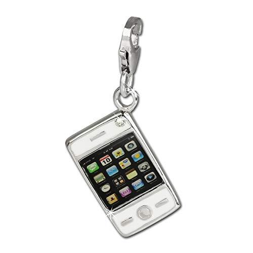 SilberDream Charm Smartphone Handy Echt Silber Anhänger s/w Zirkonia D1FC659