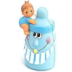 Muñeco-hucha para la tarta de Bautizo o babyshower, niño sobre biberón en azul. Figura o muñecos para la tarta Bebé