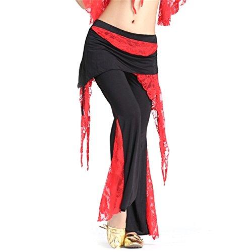 Damens Lace Bauchtanz Kostüm Hose Culottes Elastisch Hose Seite Schlitz Tanzen (Zigeuner Stammes Bauchtanz Kostüme)