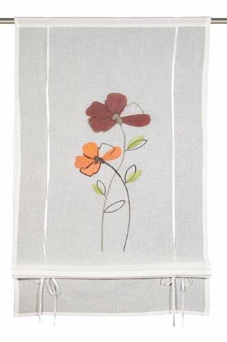Albani Livia 264262, store semi-transparent, étamine, écru, grandes fleurs brodées, prêt à poser, finition tête coulissante, 160x60 cm (HxL)