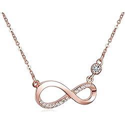 Unendlich U Fashion Unendlichkeit Zeichen Damen Halskette 925 Sterling Silber Zirkonia Anhänger Kette mit Anhänger, Rosegold/Silber (Silber vergoldet)