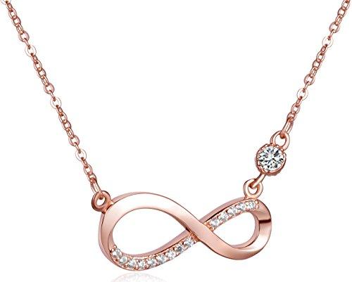 Unendlich U Fashion Unendlichkeit Zeichen Damen Halskette 925 Sterling Silber Zirkonia Anhänger Kette mit Anhänger, Rosegold