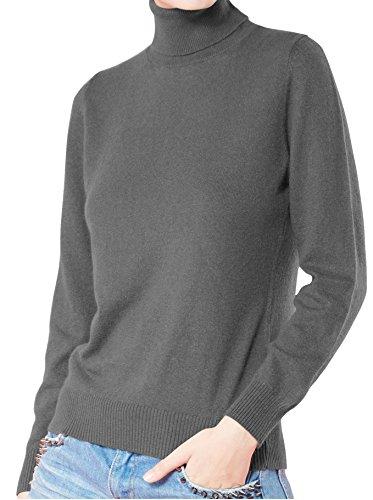 LongMing Damen 100% Kaschmir Pullover for Winter lange Ärmel Hoher Hals und Figur Schmeichelnde Casual Swaeter (S / EU Size 36/38, Dunkelgrau) (Kaschmir-pullover Grau)